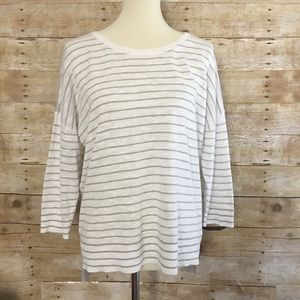 EILEEN FISHER Striped Organic Linen Blend Top
